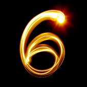Six - Created by light numerals over black background