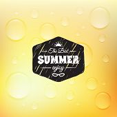 Retro summer label in doodle sketch style isolated on glass background with rain drop, vintage calli