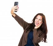 Brunette woman take selfie with cellphone