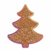Vector illustration of fir-tree embroidered on cardboard