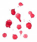 Abstract watercolor aquarelle hand drawn red blood drop splatter stain art paint on white background