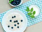 Oatmeal Porridge And Blueberries