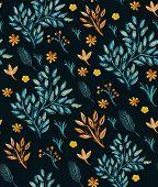 Plants Seamless  Watercolor Pattern
