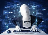 Man without identity programing in technology enviroment with cyber icons and symbols