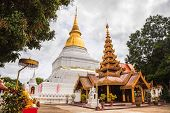 Ancient Golden Pagoda And Myanmar Style Viharn