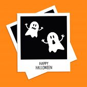 Instant photo with Two funny ghosts. Happy Halloween card. Flat design