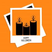 Instant photo with candle set. Happy Halloween card. Flat design