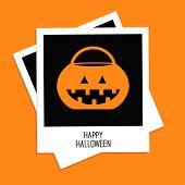 Instant Photo With Rrick Or Treat Pumpkin Bucket. Happy Halloween Card. Flat Design.