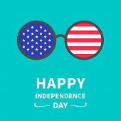 Round Glasses With Stars And Strips. Happy Independence Day United States Of America. 4Th Of July.