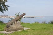 Defense, old gun on the coast.