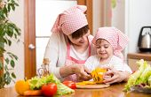 Mother And Kid Girl Preparing Food To Lunch