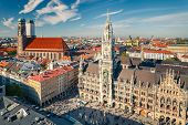 Aerial view of Munchen: Marienplatz, New Town Hall and Frauenkirche