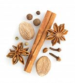 cinnamon sticks, anise star and nutmeg on white background