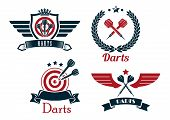 stock photo of laurel  - Darts emblems set with laurel wreath - JPG