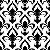 Seamless fleur-de-lis royal black pattern