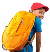 Boy With Backpack And A Cap