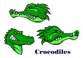 Cartoon crocodile and alligators characters