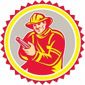 Fireman Firefighter Aiming Fire Hose Rosette