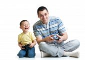 Man And His Son Playing Together
