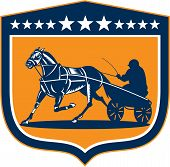 Horse And Jockey Harness Racing Shield Retro