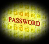 Password Security Represents Log Ins And Account