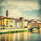 View of  Florence near Ponte Vecchio bridge, Italy