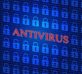 Antivirus Security Represents Malicious Software And Defense