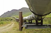 stock photo of pipeline  - A view coming up from under the oil pipeline in Alaska - JPG