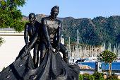 Fishermans's statue at Marmaris city embankment