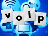 foto of voip  - Communication Voip Indicating Voice Over Broadband And Communications - JPG