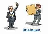 Cartoon happy businessmen characters