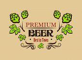 Premium beer banner or emblem