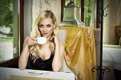 Vintage Woman Drinking Coffee