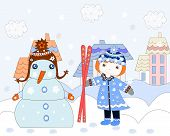 Little Girl Stretches Skiing Snowman, Winter In The City