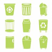 green recycle bin icons