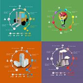 vector set of infographics of power generation and industry