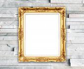 Blank Golden Frame On Modern Wall