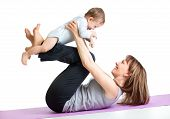 Mother With Baby Do Gymnastic Exercises