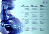 2015 calendar with abstract background. Free font used, week starts with sunday.