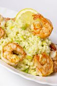 Risotto With Fried Prawns And Avocado