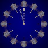 Vector abstract New Year golden clock on dark blue background