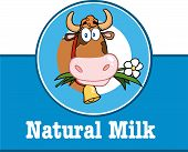 Cartoon Label With Cow And Text