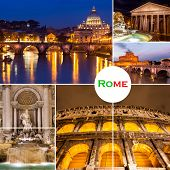 Photo Collage From Rome, Italy. Collage Includes Major Landmarks.