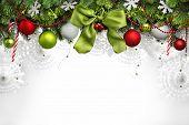 Christmas balls hanging on fir tree
