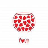 Round Vase With Hearts. Love Card.