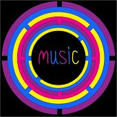 Colorful Circles And Word Music. Card