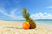 Fresh fruits and beautiful beach