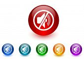 mute internet icons colorful set