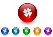 four-leaf clover internet icons colorful set