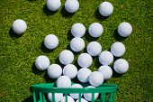 picture of bucket  - A bucket of golf balls at the driving range - JPG